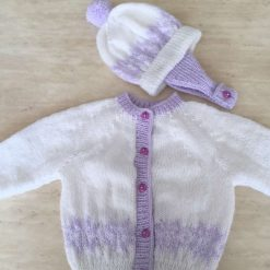 Babies gorgeous hand knit Fairisle cardigan and hat set in white and lilac
