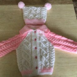 Child's Hand knit Aran Cardigan and hat set in white and pink