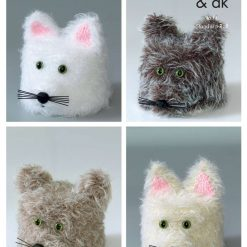 King Cole - Knitting Pattern - Cat Toilet Roll Holders