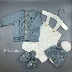 Baby Boys hand knitted 4 piece grey and white outfit