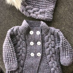 Hand knitted baby aran cardigan and furry hat - 6-12 months