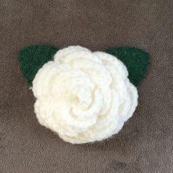 Handmade crochet rose flower brooch pin.