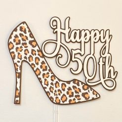 Tan/Chocolate Leopard Print Shoe Cake Topper