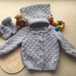 """""""Arlo"""" Baby Cardigan, Hat & Mitts PDF Knitting Pattern"""