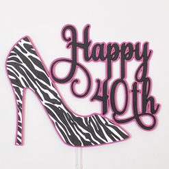 Shocking Pink/Black/White Zebra Print Shoe Cake Topper (Copy)