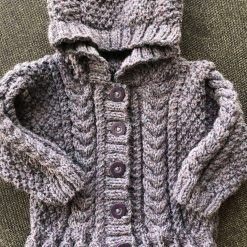 Hand knitted baby aran hoodie - 6-12 months