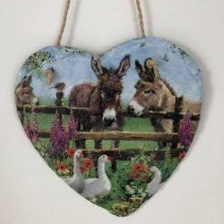 Donkey and geese slate heart