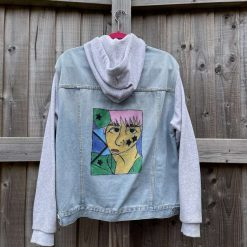 Grey hooded abstract denim jacket Size 10/12
