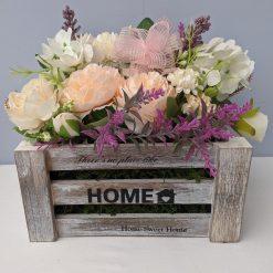 Artificial Flower Arrangement in Wooden crate