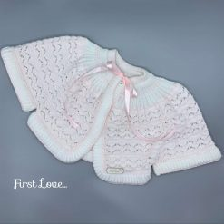 Hand knitted pastel pink and white Baby Girls Cape