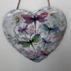 Dragonfly slate heart