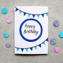 Blue / Pink Happy Birthday Greetings Card 2