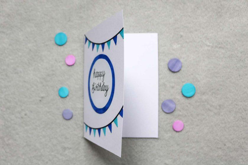 Blue / Pink Happy Birthday Greetings Card