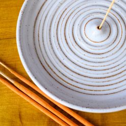 Incense Stick Holder - With Circles and White Glaze