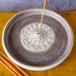 Incense Stick Holder - With Texture, Circles and White / Purple Glaze