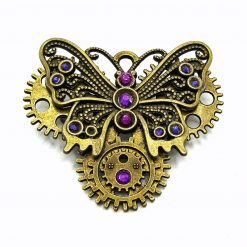 Bronze Butterfly Brooch, Purple rhinestones and Gear Charms. Free UK Postage
