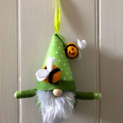 Hanging gnome/gonk with bees green