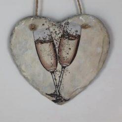Champagne glasses slate heart