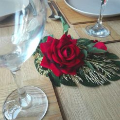 Red rose arrangement Christmas decoration with palm leaf, home decor (free p&p)