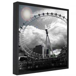 London Eye Monochrome Framed Canvas Print