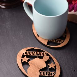 Individual Champion Golfer Coaster - Wooden Golf Coaster - Champion Golfer. Perfect for golf lovers. Ideal gift for golfing obsessives.