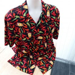 Chilli Pepper themed men's casual shirt with retro styling