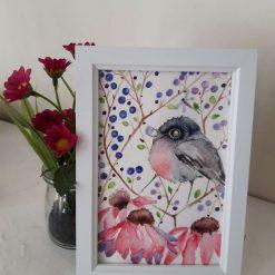 """🍒 Framed Original Watercolour """" Bird & Berries 1"""" 🐦"""