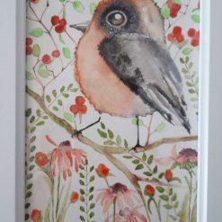 """🍇 Framed Original Watercolour """" Bird & Berries 2"""" 🐦"""
