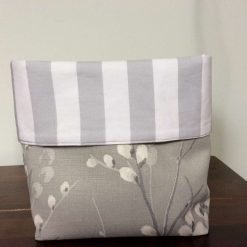 Reversible fabric basket, storage organiser