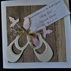 Simple * Rustic Style * New / Birth of Baby Card - baby Girl / daughter / granddaughter