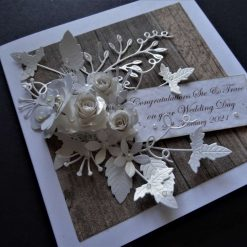 Handmade * 3D * Personalised * Wedding Day /Engagement or Anniversary Card. Rustic style
