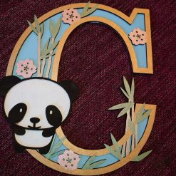 Panda personalised hand painted Letter/Initial wall plaque