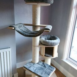 Replacement Removable 5 Piece Grey Super Soft Plush Fleece Pet Cat Snuggle Bed Set for Natural Paradise Cat Tree XL (not incl. cat tree)
