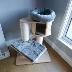 Replacement Removable 3 Piece Grey Super Soft Plush Fleece Pet Cat Snuggle Bed Set for Natural Paradise Cat Tree Mini (not incl. cat tree)