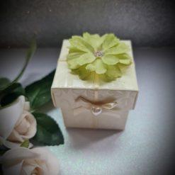 Square Box - Diamante Ivory range green flower