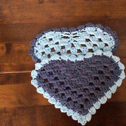 Set of 2 Crochet Heart Coasters