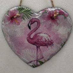 Flamingo slate heart