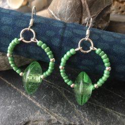 Earrings-Hoops-Green Glass bead