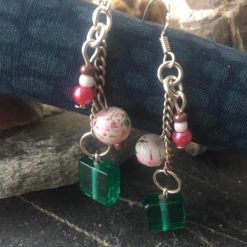 Earrings-Green and Pink Bohemian Dangle