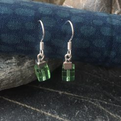 Earrings-Green and Silver Cube Dangle