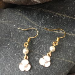 Earrings-White Burhead Flowers