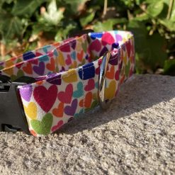 "Dog collar, Dog Collars, Puppy Collars size SMALL 11""-14"" x"" 1""wide multi hearts pattern"