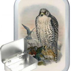 Falcon Hinged Tin, Pocket Tin, Pill Tin, Sewing Tin, Storage Tin, 50ml Tin