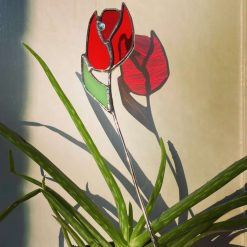Stained Glass Tulip plant pot stake
