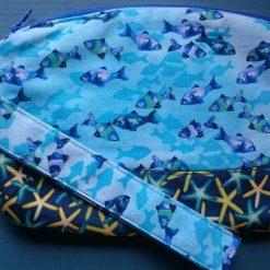 Dark Blue Coral Reef Clematis Clutch Bag Wristlet