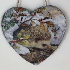 Winter hedgehog slate heart