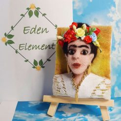 Mini portrait, needle felted Frida Kahlo with, gold earings and necklace, hand painted flowers, hand enbroided details, 11.5 hight includes small easel
