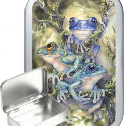Blue Frog Hinged Tin, Pocket Tin, Pill Tin, Sewing Tin, Storage Tin, 50ml Tin