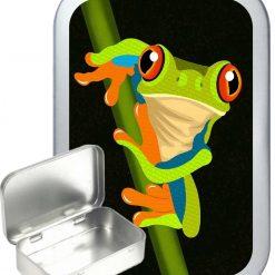 Frog Pop art Hinged Tin, Pocket Tin, Pill Tin, Sewing Tin, Storage Tin, 50ml Tin