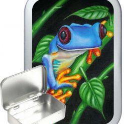 Frog Portrait Hinged Tin, Pocket Tin, Pill Tin, Sewing Tin, Storage Tin, 50ml Tin